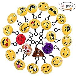 Emoji Llavero,Emoción Llavero 6cm Mini Regalo de Relleno de Juguete para Coche Mochila Fiesta Favores Decoración Niños Juguete 24 packs