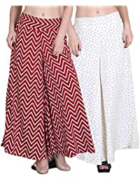 Jollify Regular Fit Women's White Red color plazzo(pack of 2)