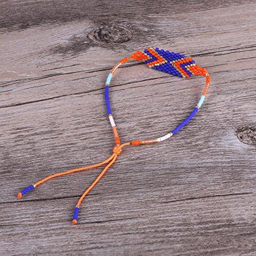 KELITCH Chaîne Amitié Bracelet, Perles Rocailles Flèche Tisser Motif Bleu/Orange