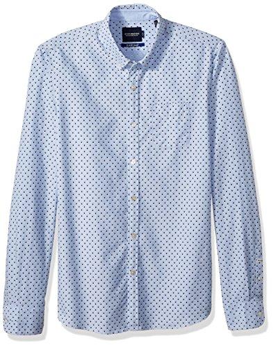 Scotch & Soda Herren Langarmshirt Ams Blauw Slim Fit Allover Printed Shirt in Seasonal Pattern Combo C