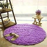 Teppich, CAMAL Runde Seide Wolle Material Yoga Teppich für Wohnzimmer Schlafzimmer und Bad (100cm, Lila)