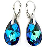 Sterling Silver 925 Made with Swarovski Crystals Blue-Green Leverback Earrings for Women