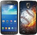 Flaming Baseball Feuer und Wasser schwarz für Samsung Galaxy S4Active Handy Fall