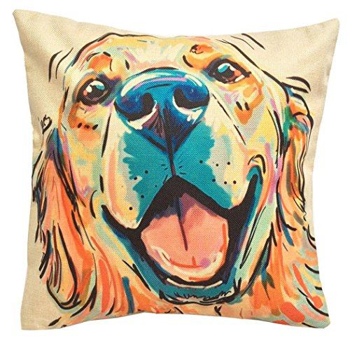 Moyun Niedlich Haustier Golden Retriever Hund Muster Kissenbezug Baumwolle Leinen Zierkissenbezüge für Hundeliebhaber Geschenk 18 x 18 Zoll -