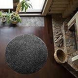 Shaggy-Teppich | Flauschiger Hochflor fürs Wohnzimmer, Schlafzimmer oder Kinderzimmer | einfarbig, schadstoffgeprüft, allergikergeeignet in Farbe: Dunkelgrau; Größe: 160 cm rund