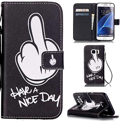 "Ooboom® iPhone 7 4.7"" Coque PU Cuir Flip Housse Étui Cover Case Wallet Stand avec Carte de Crédit Fentes Dragonne - Have a nice day Have a nice day"