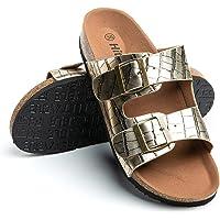 Sandali a Punta Aperta Donna Infradito Fibbia Ciabatte Estiva Slip-on Scarpe Casuale Sandali Antiscivolo Comode Nero…