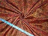 Seide Brokat Stoff braun rot und schwarz 111,8cm