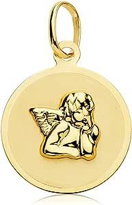 Iyé Biyé Jewels Medaglietta per neonato, rotonda, in oro giallo 18 carati, 15 mm, con incisione inclusa
