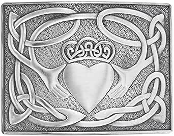 Claddagh Design Kilt Belt Buckle Brushed Antique Finish - Made in UK