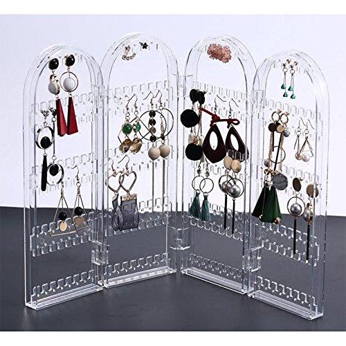 4-panel-dekorative Bildschirm (buyger Kunststoff Faltbar Ohrring Halskette Bildschirm Schmuck Rack Aufbewahrung Schmuck Ständer Display Organizer)
