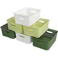 Ponpong Petits Paniers de Rangement Tissés en Plastique pour Placard de Cuisine, Vert Foncé Vert Clair et Blanc, Lot de…