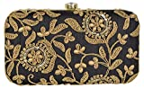 Parizaat By Shadab Khan Women's Clutch (Gold and Black, bx849)