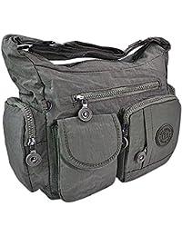 Bag Street Damen Handtasche Umhängetasche Beutel Nylon grau