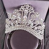 Neue Silber Gold Farbe Hochzeit Königin Krone Kristall Big Tiara Kronen Mit Kamm Braut Hochzeit Braut Kopfschmuck (Metal Color : Silver)