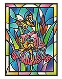 dpr. Fensterbild Tiffany Optik Lilie Schmetterling Blumen Zart beglimmert statisch selbsthaftende Folie Fenstersticker Aufkleber