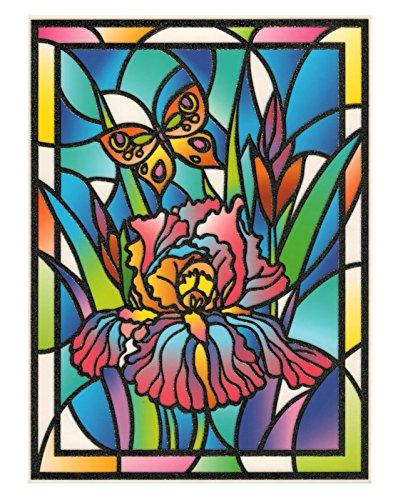 Tiffany Lilie (Fensterbild Tiffany Optik Lilie Schmetterling Blumen einseitig zart beglimmert statisch selbsthaftende Folie Fenstersticker Aufkleber)