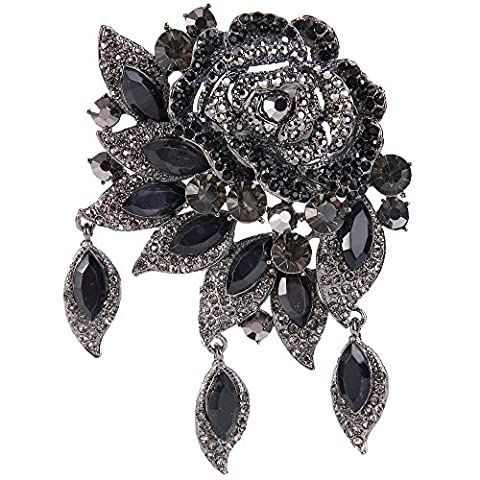 EVER FAITH® Austrian Crystal Huge Rose Flower Dangle Brooch Pendant