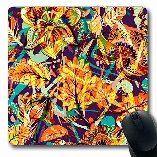 Luancrop Mousepad Oblong Batik Orange Exotisch Hell Floral Abstrakt Paisley Natur Blume Mix Muster Fähig Künstlerisch Asiatisch Büro Computer Laptop Notebook Mauspad, Rutschfester Gummi Paisley Mix