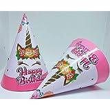 Partysanthe Unicorn Paper Cap Kids for Unicorn Birthday Decoration(Set of 10)