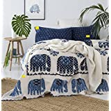 Fab Nation Blue Elephant COTTON BEDSHEET - USA EXPORT QUALITY Double Bedsheet With 2 Zipper Pillow Covers - Queen Size, White,Blue,Light Blue,Multicolour (100% Cotton With Fade Resistant Colors)//all 4 Sides HEMMED With 1 Inch Fold Inside