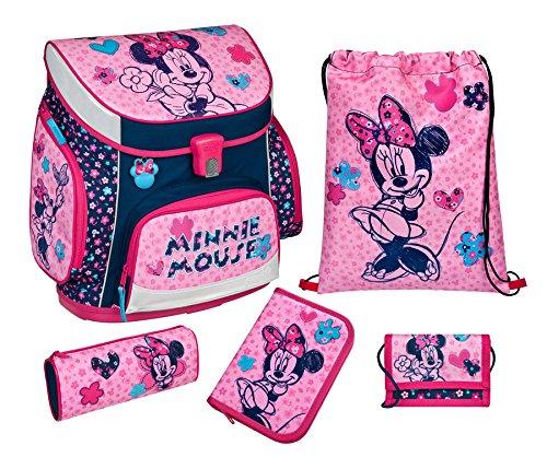 Minnie Mouse Schulranzen-Set 5-tlg fluffy Etui Federmappe Scooli Campus Disney