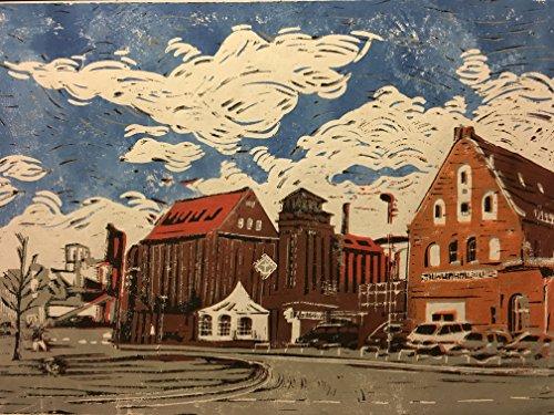 Hafenkopf Holz- und Fabrikenhafen Bremen - Linolschnitt, von Hand einzeln gedruckt, etwa 42x30cm,...
