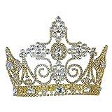 Hommes Miss Imperial Diadème Or King Métal Haut Mariage Couronne Déguisement Bal T1803