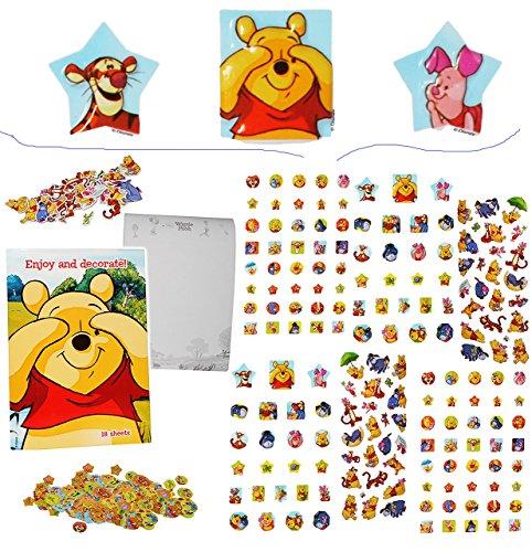 Unbekannt 500 TLG. XXL Set: Sticker & Malblock -  Disney Winnie The Pooh  - 3-D Aufkleber & Normale - mit AusmalBlock - groß Puuh Tigger Teddy Bär Ferkel - Ausmalbuch..
