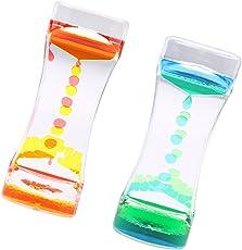 Segolike 2Pieces Floating Color Mix Oil Liquid Bubbler Motion Timer Hour Glass