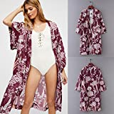 Amphia - Bedruckte Kimono-Cardigan-Strandbluse - Mode Frauen Chiffon Schal Print Kimono Cardigan Top Cover Up Bluse Beachwear