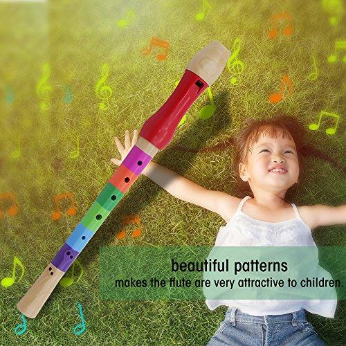 Drfeify Wood Kids Flute, Lightweight Wood Recorder Educational Wooden Flute Toy for Kids Children Practice(Multicolor)
