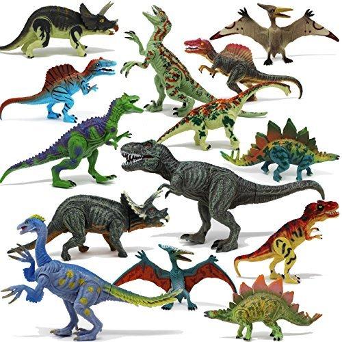 JOYIN Dinosaurios 14 PCS Figura de Dinosaurio Realista Juguetes 4 Piezas Hueos de Dinosaurio & 4 Piezas Rocas Juego para Chicos Fiestas de Cumpleaños Infantiles
