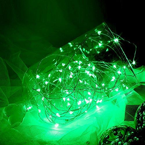 Topfashion+ 3 m lange Lichterkette mit 30Mini-Micro-LEDs, in verschiedenen Farben, Sternenlicht, Untertauchen möglich, Kupferkabel mit LED-Lichtern, betrieben mit AA-Batterien, extra dünnes Kabel, plastik, grün, 1 Set Green (Abstand Kabel Grünes)