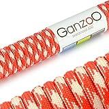 Paracord 550 Seil Rot | Weiß | 31 Meter Nylon-Seil mit 7 Kern-Stränge | für Armband | Knüpfen von Hunde-Leine oder Hunde-Halsband zum selber machen | Seil mit 4mm Stärke | Mehrzweck-Seil | Survival-Seil | Parachute Cord belastbar bis 250kg (550lbs) - Marke Ganzoo