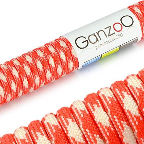 Universell einsetzbares Survival-Seil aus reißfestem Parachute Cord/Paracord (Kernmantel-Seil aus Nylon), 550lbs, Gesamtlänge 15 Meter (50 ft) Farbe: Rot (Signalorange) / Weiß - Marke Ganzoo -
