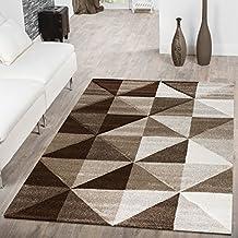 Designer Teppich Wohnzimmer Piramide Design 3D Optik Braun Beige AUSVERKAUF, Größe:60x110 cm