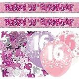 Unique Kit de décoration pour fête d'anniversaire 16 ans Rose/argenté