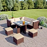 Abreo Rattan Corner Garden Furniture Set Dining Cube Table With Modular Footstool Ottomans - Light/Dark Cushions Brown With Light Cushions