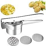 Kartoffelpresse – multifunktionale Profi-Edelstahlpresse für Obst und Gemüse mit 3 austauschbaren Sieben (Silber)