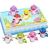 Hilloly 8 Pezzi Mini Figurine, Mini Action Cake Toppers, Squalo Animale Mini Figurine, Compleanno Baby Shark Decorazioni Per