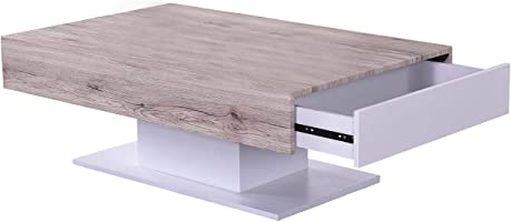 Jiwa Berani Manson Coffee Table, Beige and White - 110H x 70W x 40D cm