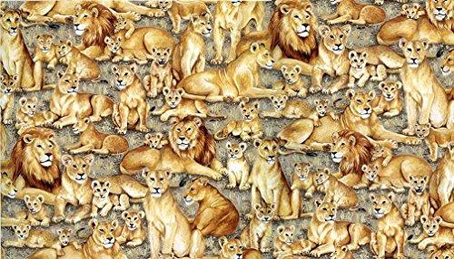 Fat Quarter Safari Löwen Scenic Muster 100% Baumwolle Quilten Stoff Makower (Quarter-muster Fat)