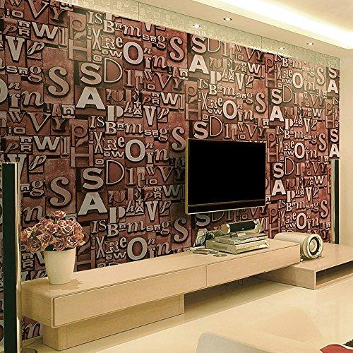 3D Tapete Trend Buchstaben Tapete Bar Cafe Wohnzimmer TV Rückwand Papier Stereo Persönlichkeit Retro Kaufen Sie drei Get One Free ( Color : Two )