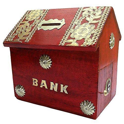 Banque d'argent en bois, style de maison avec la tirelire de couleur rouge, boîte de stockage de pièce sûre pour les garçons et les filles, jour de Pâques / fête des mères / cadeau de vendredi bon