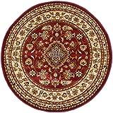 Extra grande redondo clásico estilo persa Oriental tradicional Floral alfombra Circular/alfombrilla, rojo–180x 180cm