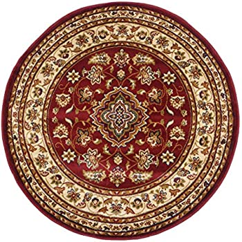 Round Classic Oriental Persian Style Traditional Floral Circular Rug / Mat,  Red   133 X 133cm By ERugs