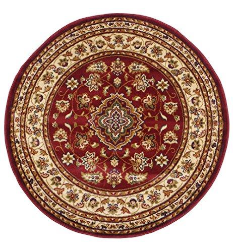 Alfombra persa tradicional, redonda, 133 x 133 cm, diseño clásico floral, color rojo