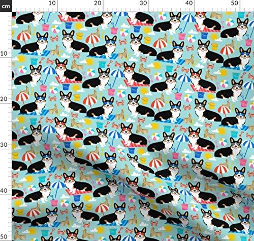 Corgi, Sandburg, Strand, Sommer, Sonnenbrillen, Corgis, Hund Stoffe - Individuell Bedruckt von Spoonflower - Design von Petfriendly Gedruckt auf Minky