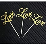 Generic Gold : 10X Shiny LOVE Cupcake Topper Birthday Wedding Cake Decorating Party Accessories 043-410